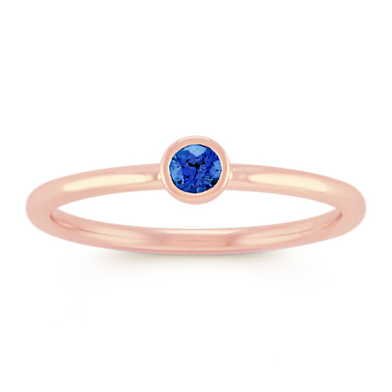 Round Traditional Sapphire Stackable Ring in 14k Rose Gold