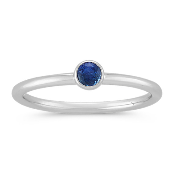 Round Traditional Sapphire Stackable Ring in 14k White Gold