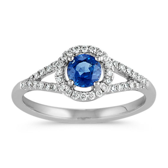 Round Traditional Sapphire and Diamond Split Shank Ring