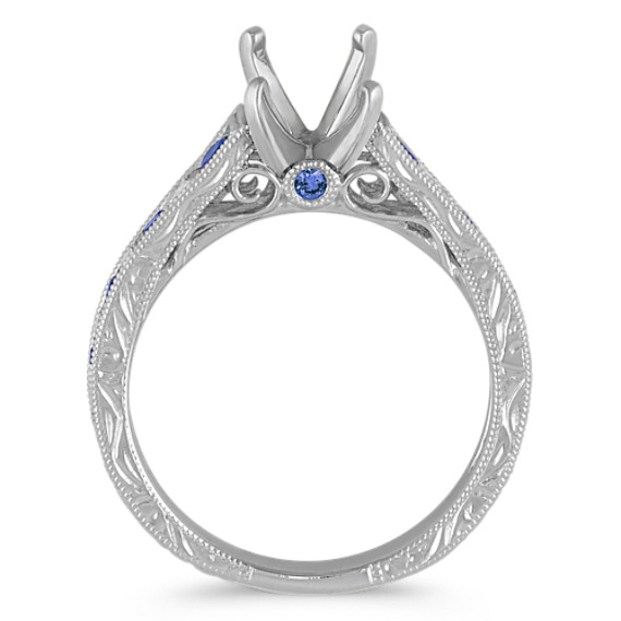 Round Traditional Sapphire and Diamond Vintage Engagement Ring image