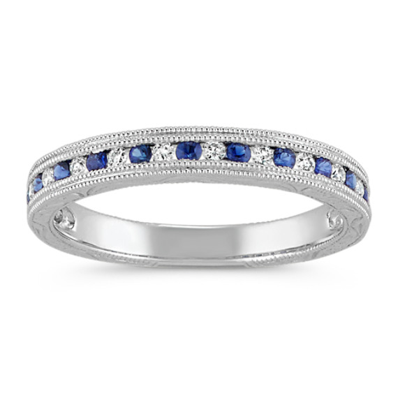 Round Traditional Sapphire and Diamond Vintage Ring