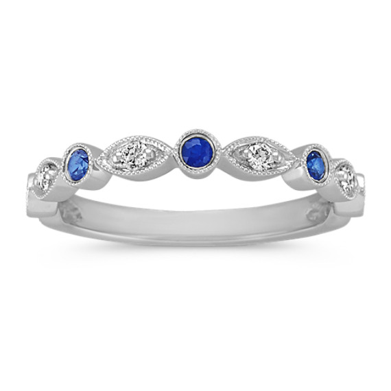 Round Traditional Sapphire and Round Diamond Wedding Ring
