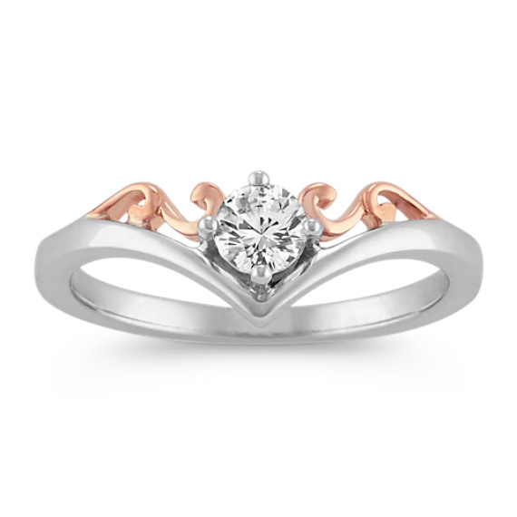 Round White Sapphire Ring in Sterling Silver and 14k Rose Gold