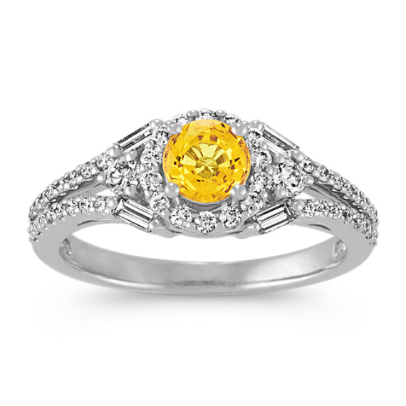 Round Yellow Sapphire, Baguette and Round Diamond Ring