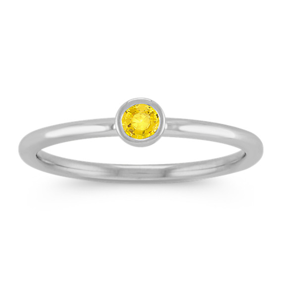 Round Yellow Sapphire Stackable Ring in 14k White Gold