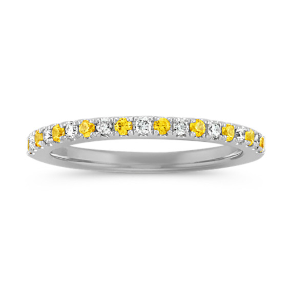 Round Yellow Sapphire and Diamond Wedding Band in 14k White Gold