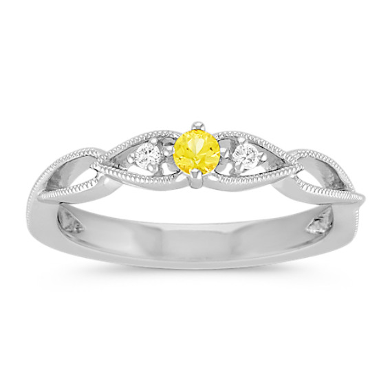 Round Yellow Sapphire and Round Diamond Stackable Sterling Silver Ring