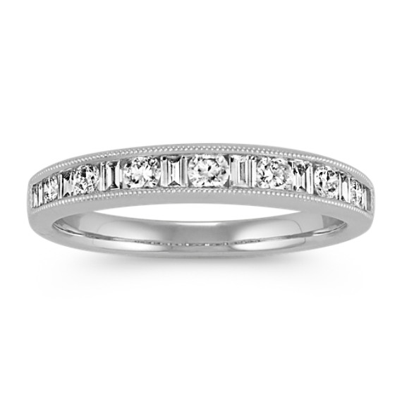 Round and Baguette Diamond Vintage Wedding Band