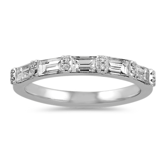 Round & Baguette Diamond Wedding Band in 14k White Gold