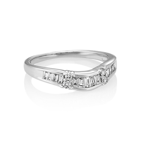 Baguette Wedding Band.Round And Vertical Baguette Diamond Wedding Band