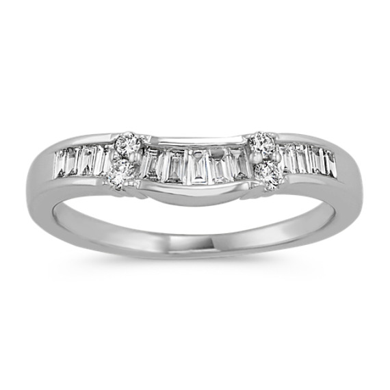Round and Vertical Baguette Diamond Wedding Band