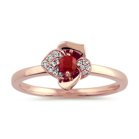 Ruby and Diamond Flower Ring in 14k Rose Gold
