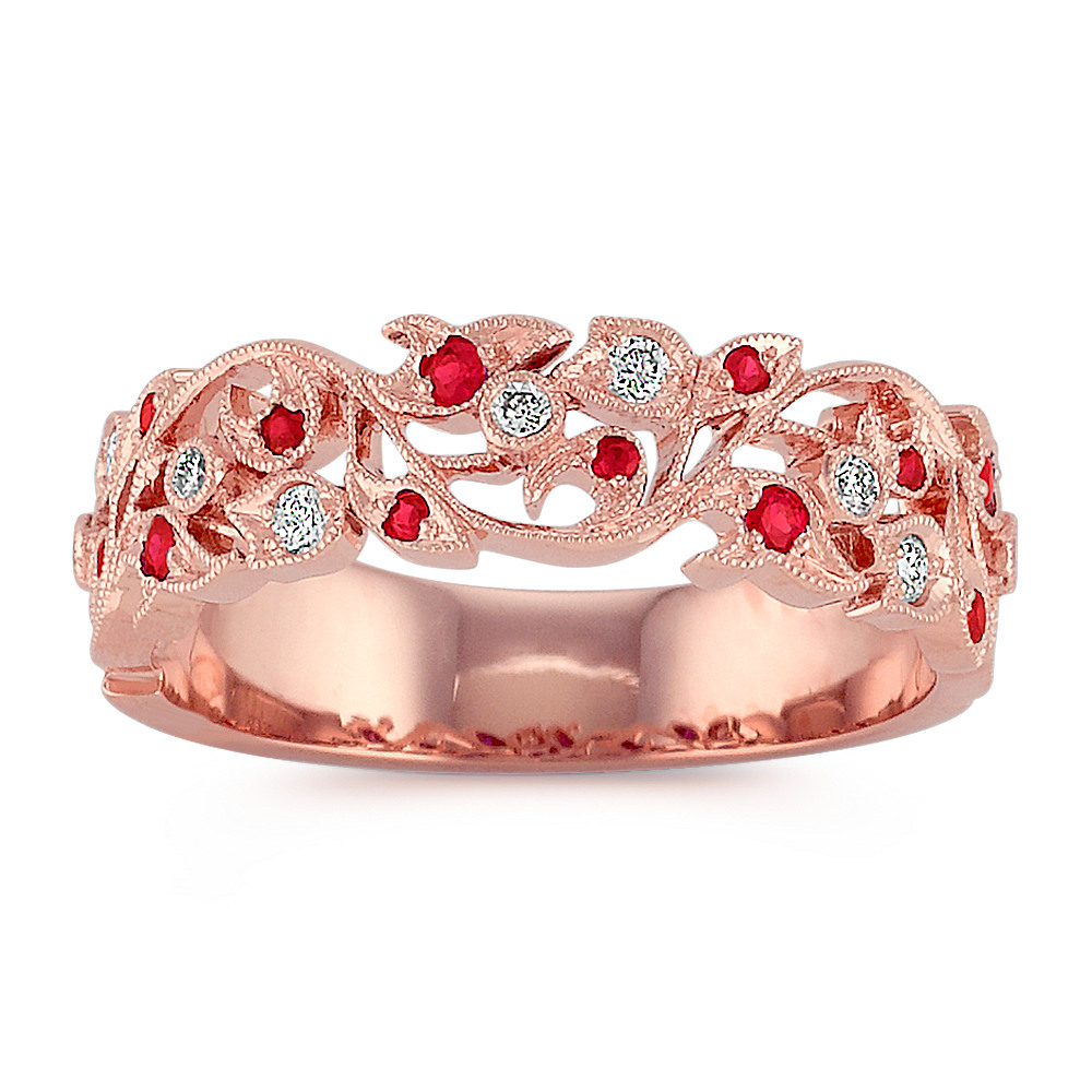Ruby and Diamond Ring in 14k Rose Gold | Shane Co.