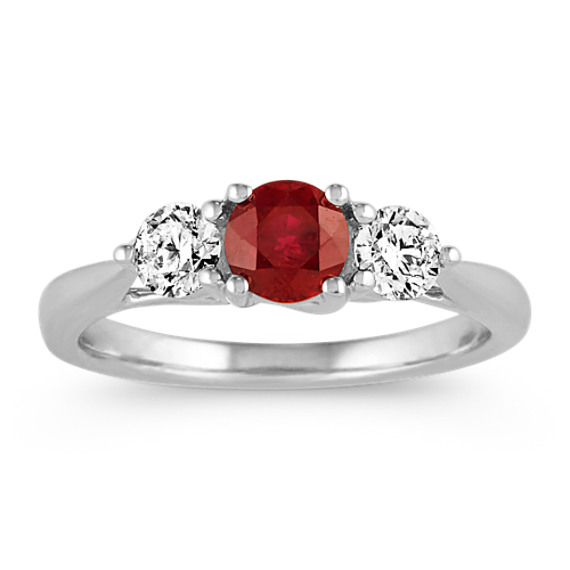 Ruby and Diamond Three-Stone Ring in 14k White Gold