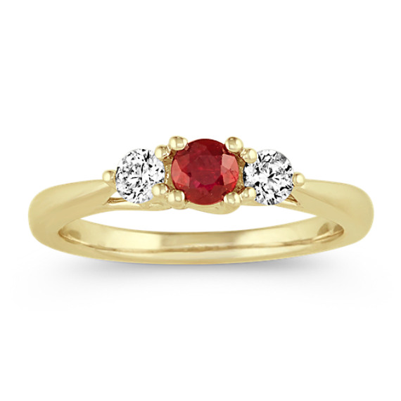 Ruby and Diamond Three-Stone Ring in 14k Yellow Gold