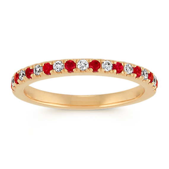 Ruby and Diamond Wedding Band in 14k Yellow Gold