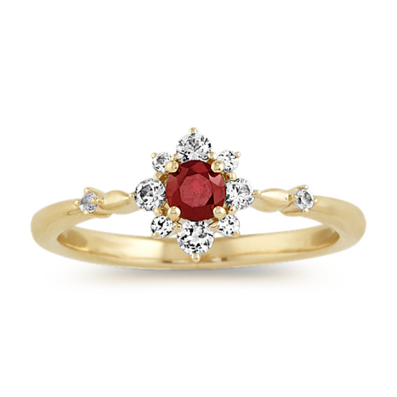 Ruby and White Sapphire Ring in 14k Yellow Gold