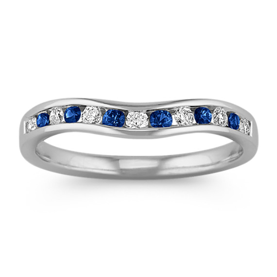 Sapphire and Diamond Contour Wedding Band with Channel-Setting