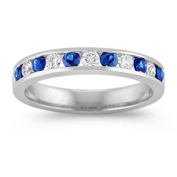 Sapphire and Diamond Platinum Wedding Band with Channel-Setting