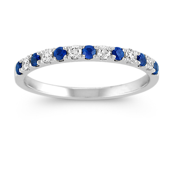 Sapphire and Diamond Platinum Wedding Band