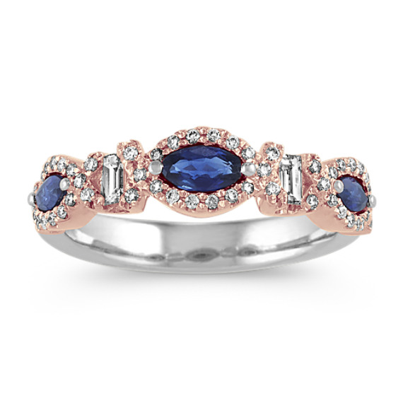 Sapphire and Diamond Ring in 14k Two-Tone Gold
