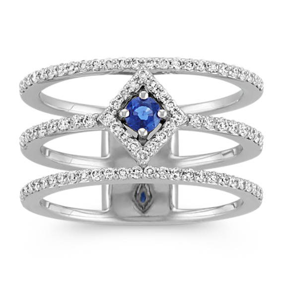 Sapphire and Diamond Triple Ring