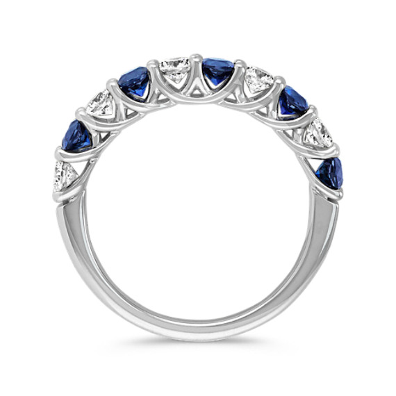 Sapphire and Diamond Wedding Band image