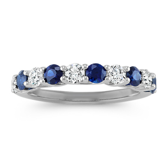 Sapphire and Diamond Wedding Band