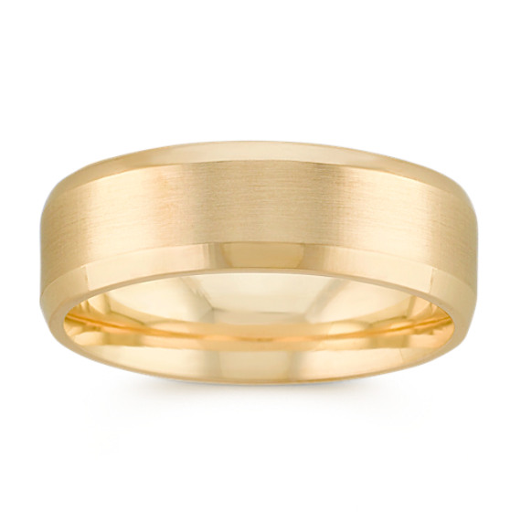 Satin Finished 14k Yellow Gold Comfort Fit Ring (7mm)