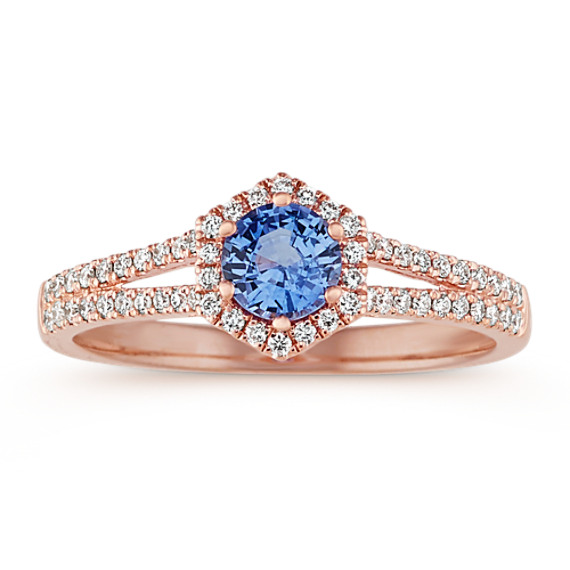 Split Shank Diamond & Kentucky Blue Sapphire Ring