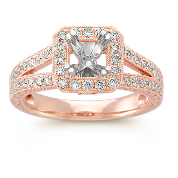 Split Shank Halo Engagement Ring with Pave-Setting in 14k Rose Gold