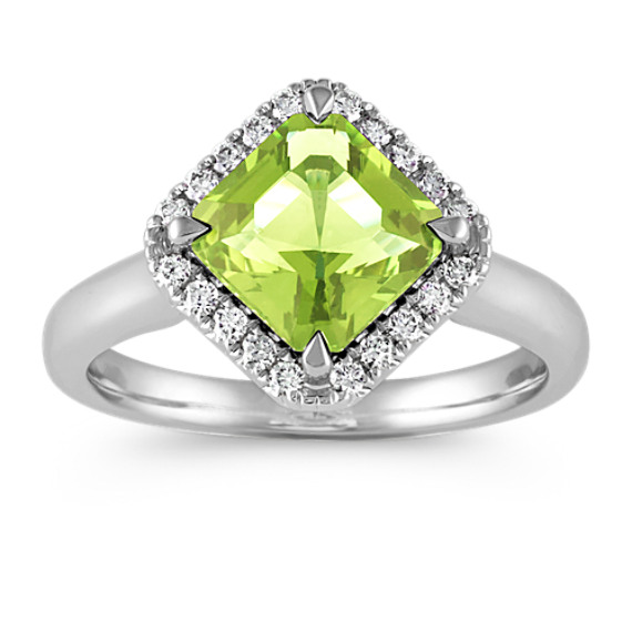 Square Cut Peridot and Round Diamond Ring in 14k White Gold