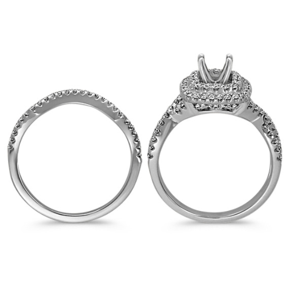 Square Double Halo Infinity Diamond Wedding Set image