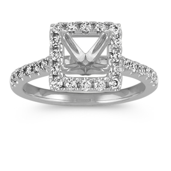 Square Halo Diamond Engagement Ring with Pave Setting