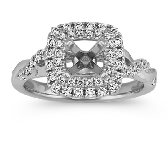 Square Halo Swirl Engagement Ring with Pave-Set Round Diamonds