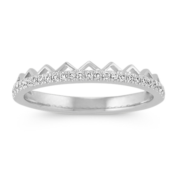 Stackable Pave-Set Round Diamond Ring in White Gold
