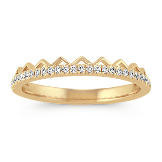 Stackable Pave-Set Round Diamond Ring in Yellow Gold
