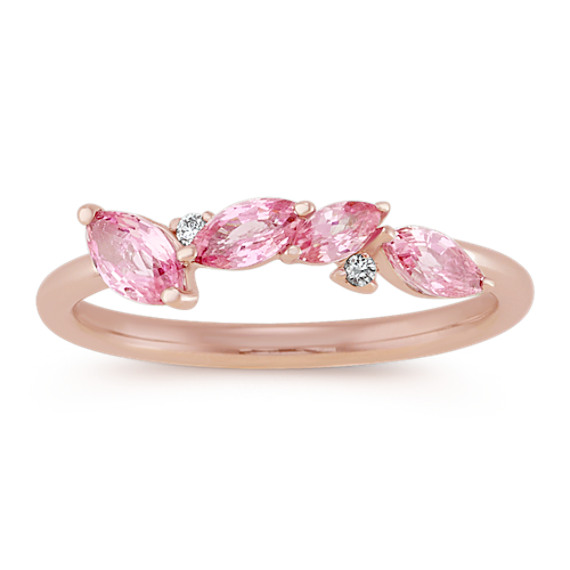 Stackable Pink Sapphire and Diamond Ring