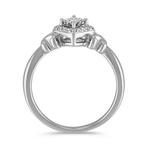 Sterling Silver Princess Cut And Round Diamond Ring Shane Co