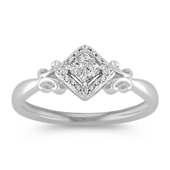 Sterling Silver Princess Cut and Round Diamond Ring