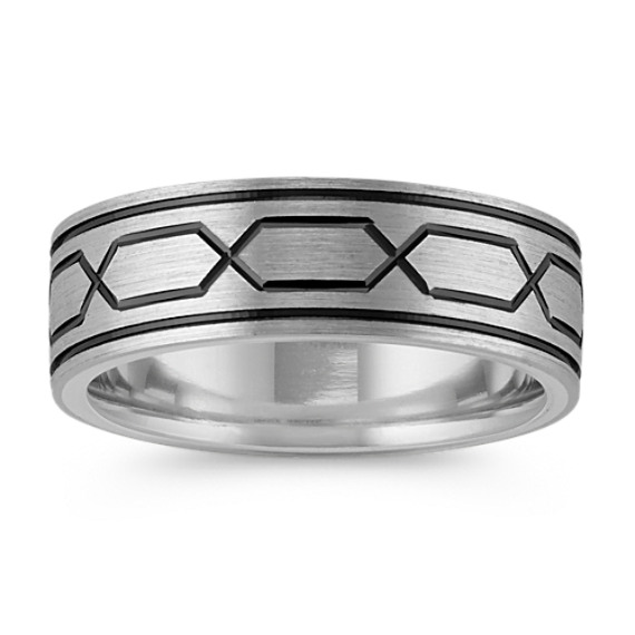 Sterling Silver and 14k White Gold Engraved Ring (7mm)