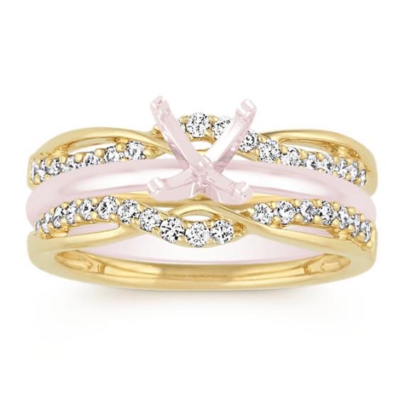 Swirl Diamond Engagement Ring Guard in 14k Yellow Gold