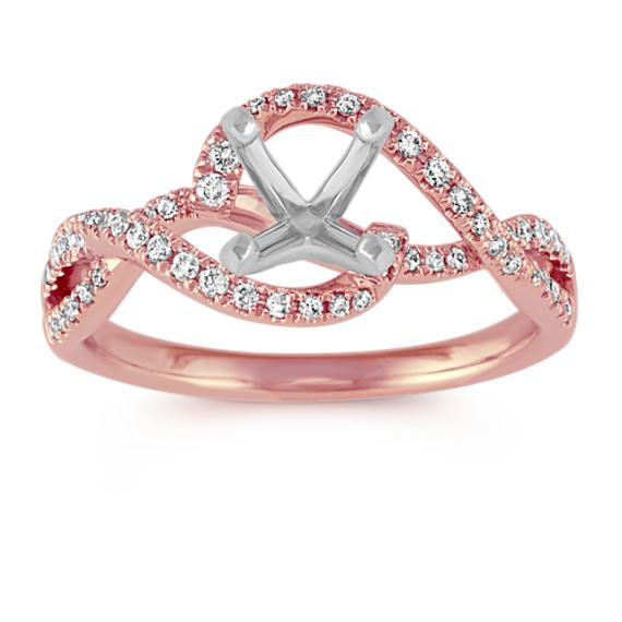 Swirl Diamond Engagement Ring in 14k Rose Gold