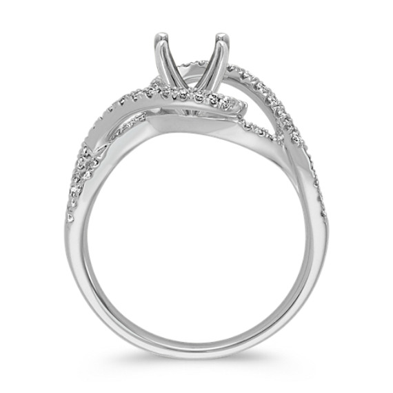 Swirl Diamond Engagement Ring in 14k White Gold image