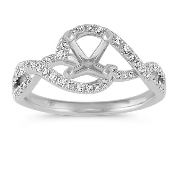 Swirl Diamond Engagement Ring in 14k White Gold
