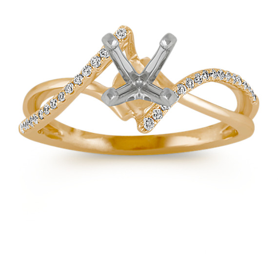Swirl Diamond Engagement Ring in Yellow Gold