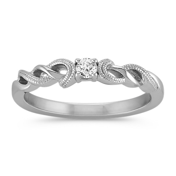 Swirl Diamond Ring in Sterling Silver with Milgrain Detailing