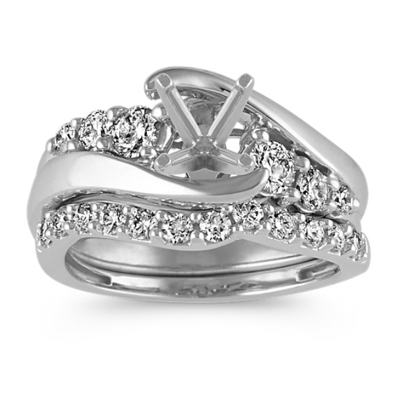 Swirl Diamond Wedding Set in 14k White Gold