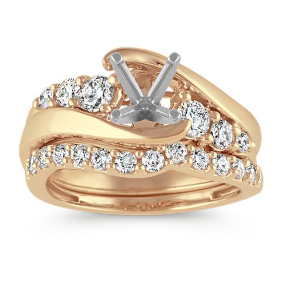 Swirl Diamond Wedding Set in 14k Yellow Gold