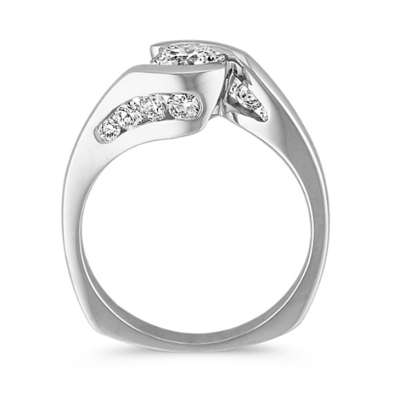 Swirl Half Bezel and Channel-Set Diamond Engagement Ring image